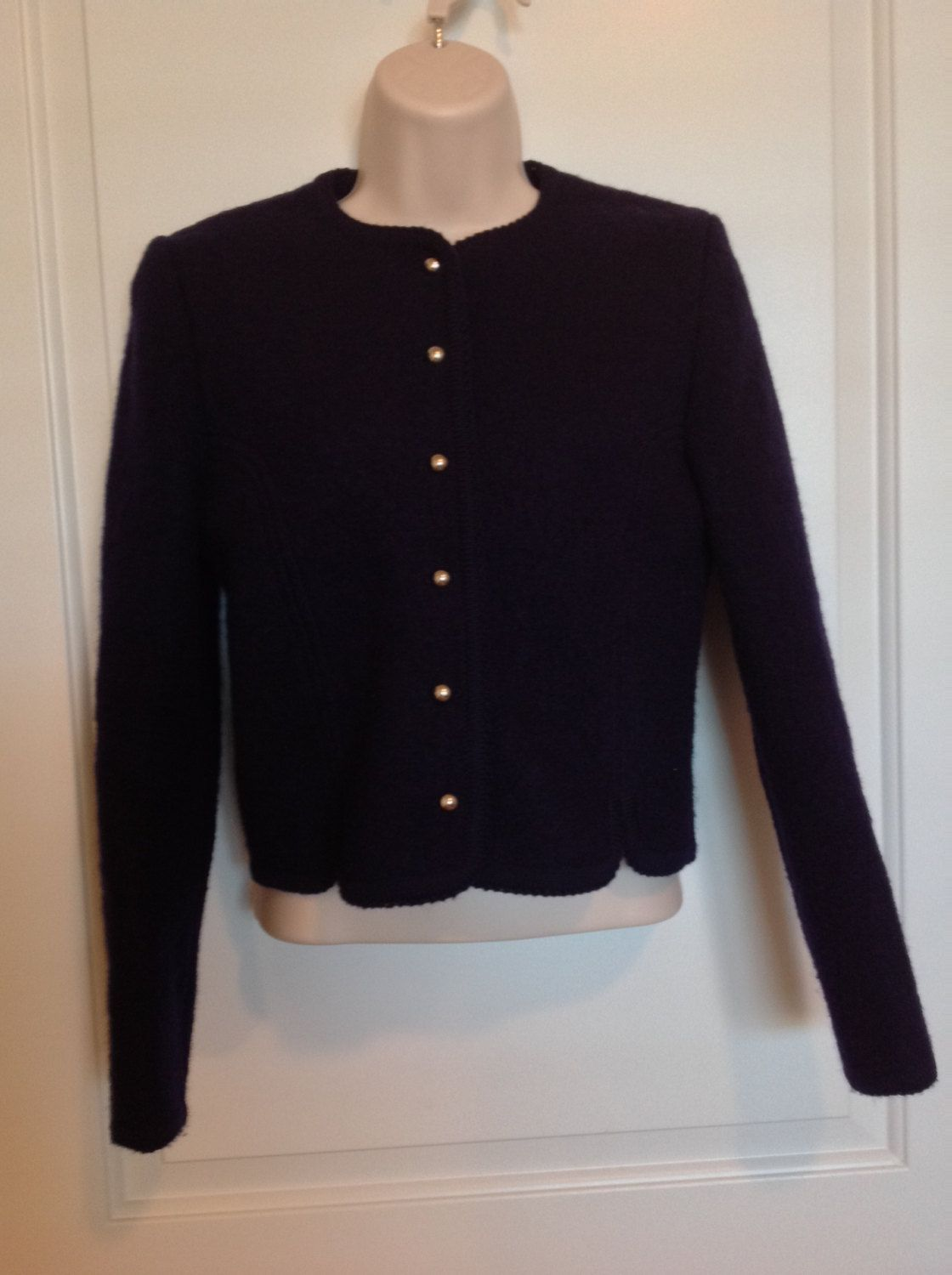 Vintage 60s Navy Blue SWEATER Jacket 6 S cropped Women's gold ...