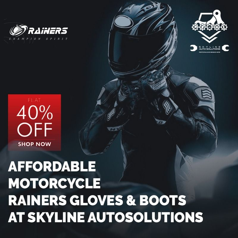 Stylish and premium quality Rainers gloves and boots available at wonderful prices.   #Skyline #SkylineAuto #SkylineAutoSolutions #bikeservicing #bikerestoration #vintagebikes #rajdoot #jawa #yamaharx100 #motorbikeservicing #servicecentre #bikeshop #loveforride #loveforbike #bikeporn #bikersofinstagram #bikersfamily #throttlesociety