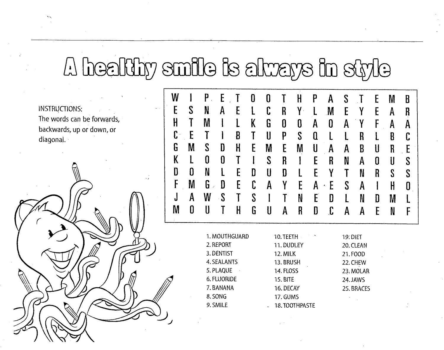 Children's Fun Activity Sheets Healthy Smile Word Search   Educative  Printable   Fun worksheets for kids [ 1182 x 1500 Pixel ]