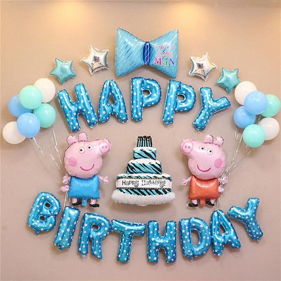 Peppa Pig Thema Geburtstag Dekorationen, PEPPA PIG Birthday Party Ballon Set, Latexfolie Donuts Prinzessin Party, Kinder Party, Baby-Dusche - # Geburtstag # ...