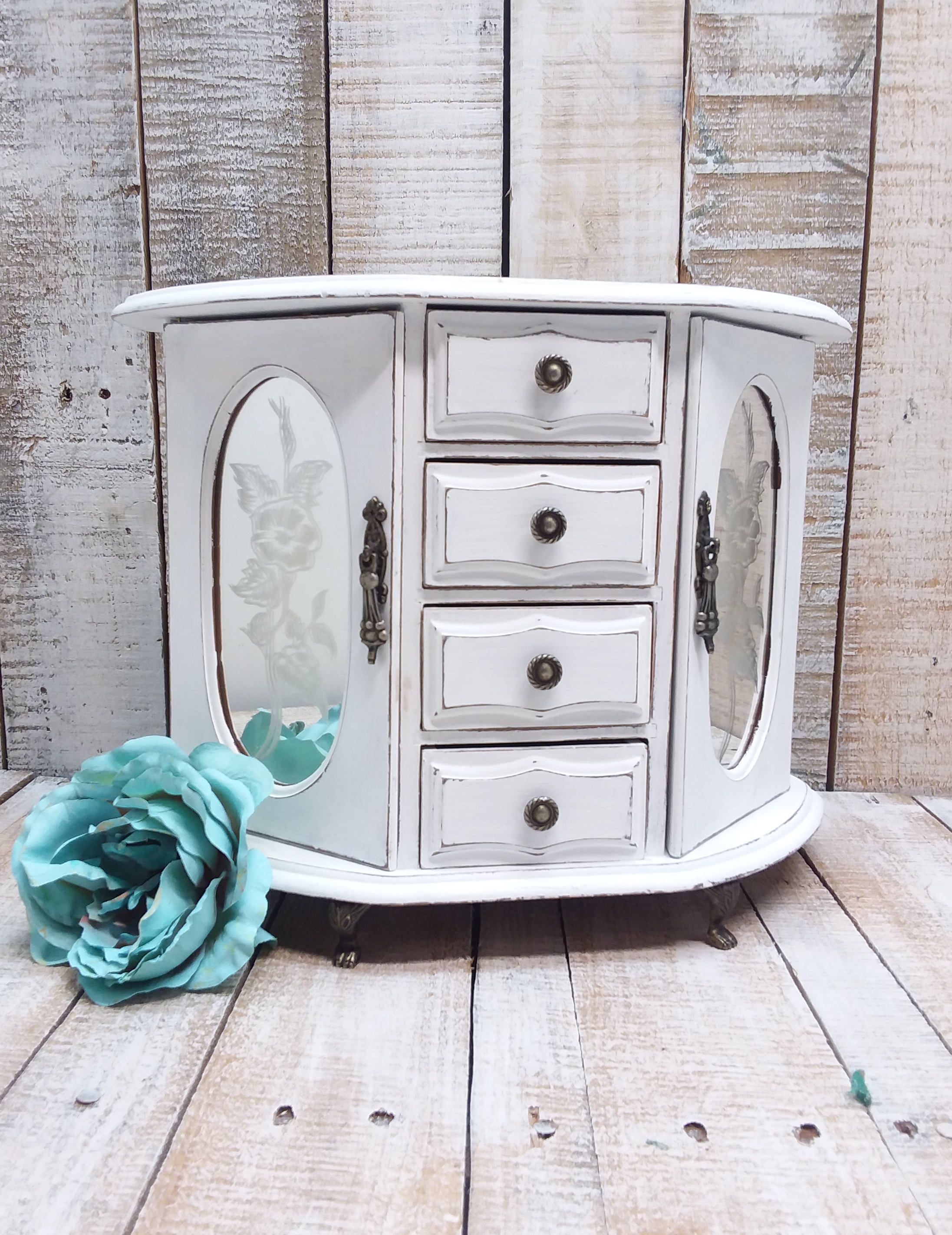 Shabby Chic Vintage Wooden Jewelry Box Armoire Painted Snow White