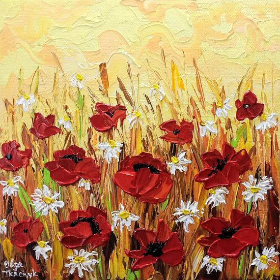 Small Abstract Floral Acrylic Painting, Original Canvas Art, Poppies ...