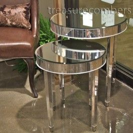 Merveilleux Hollywood Regency Round Mirrored End Tables   Set Of 2