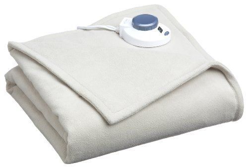 SoftHeat by Perfect Fit Luxury Micro-Fleece Low-Voltage Electric Heated Blanket Twin, Natural