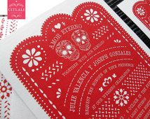 Papel Picado & Day of the Dead Sugar Skulls - Amor Eterno Wedding Invitations - Red/any color - Mexican Banner Fiesta Folk Art
