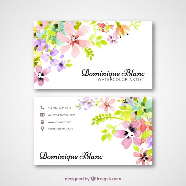 Download Business Card With Watercolor Flowers For Free Visiting Card Design Free Printable Business Cards Free Business Card Design