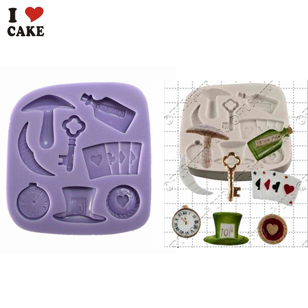 Alice In Wonderland Kitchen Accessories Cupcake Silicone Cake Mold For  Fondant Cake Decorating