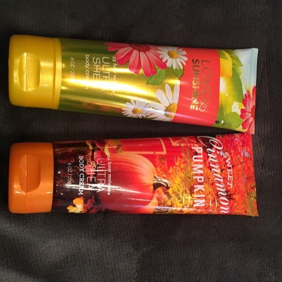 Bath and Body Cream NWT Bath and Body Love Sunshine and Sweet cinnamon pumpkin Makeup