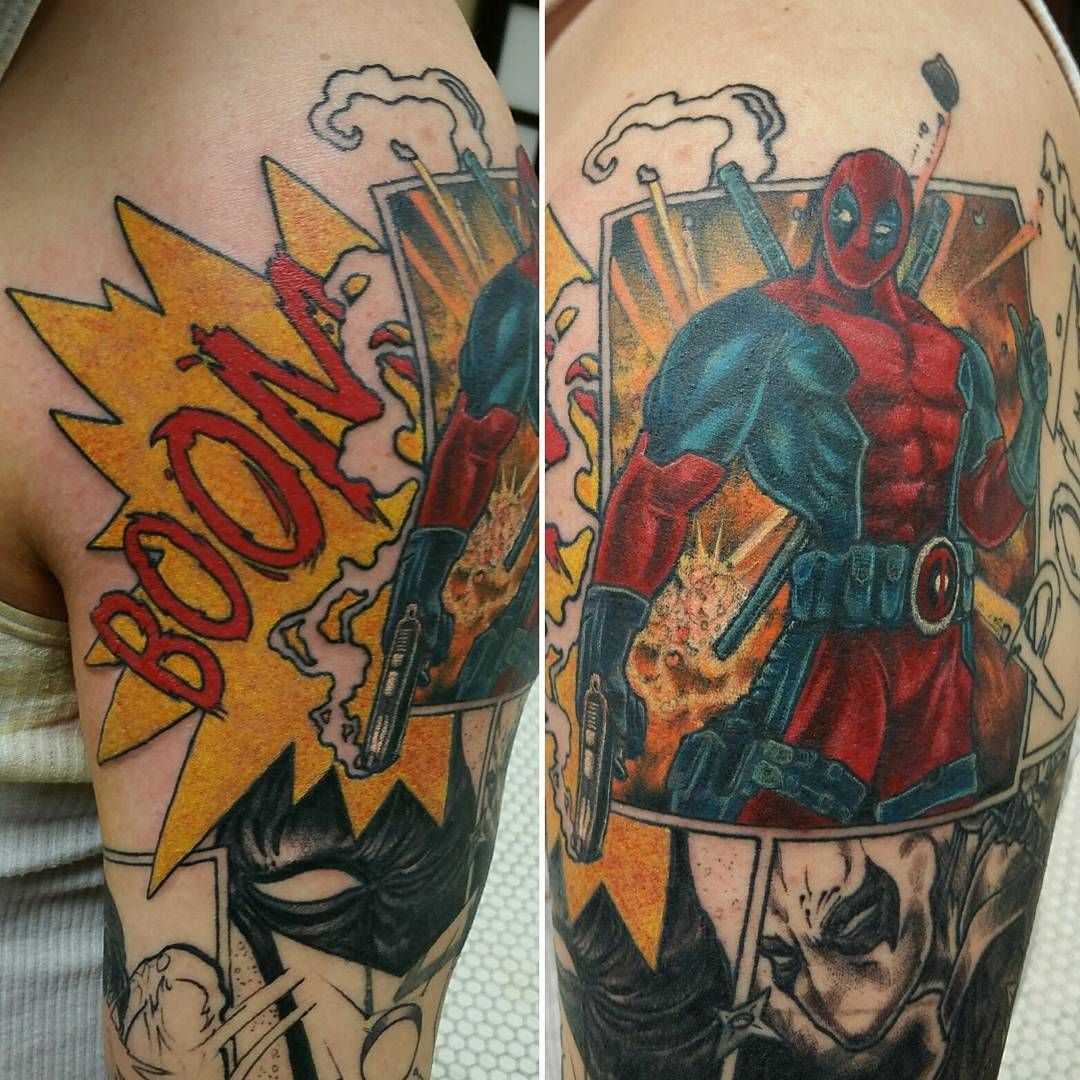 awesome Top 100 Dead Pool Tattoo | More work on the #Deadpool half sleeve…