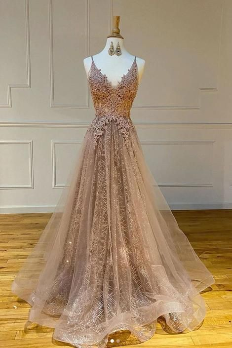 Champagne Tulle Long Dress V Neck A Line Customize Lace Prom Dress B198