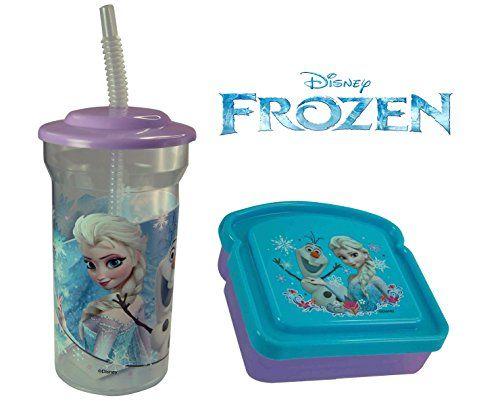 Disney Frozen Kids 2 Piece Reusable Lunch Container Set - Sports Tumbler and Sandwich Box @ niftywarehouse.com #NiftyWarehouse #Geek #Fun #Entertainment #Products