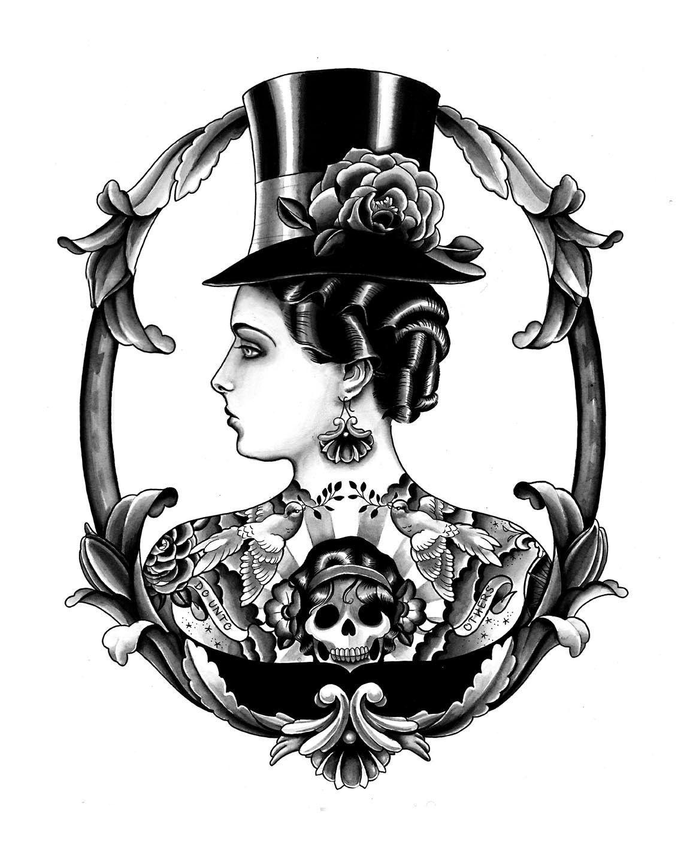 Tattooed steampunk lady laminas en blanco y negro p g for Laminas blanco y negro