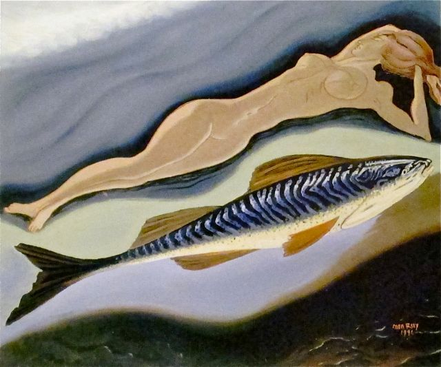 "Man Ray  ""la Femme et son poisson""  (Woman and her Fish)  Oil on Canvas  1941"