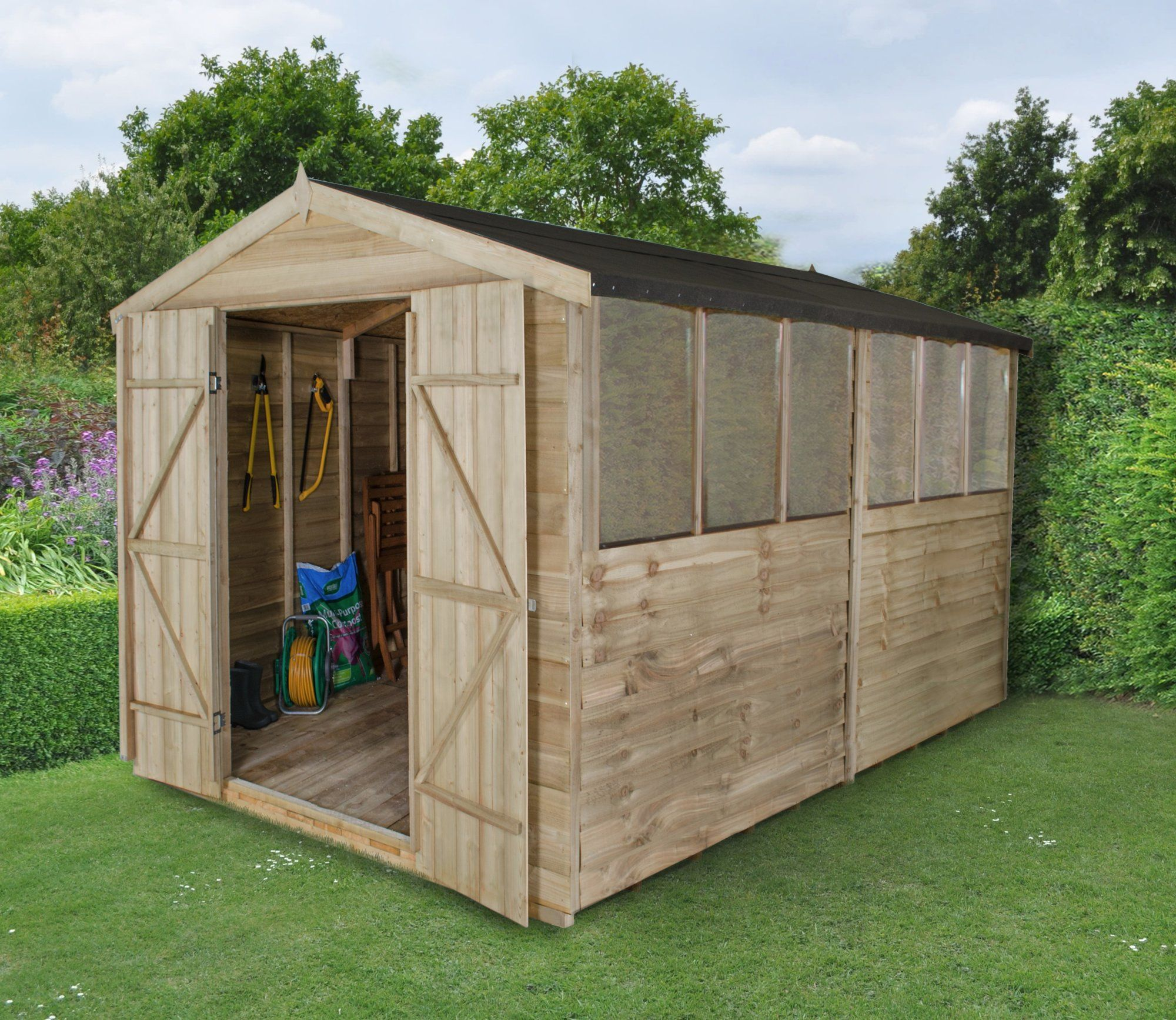 8 x 12 overlap pressure treated apex shed with double doors