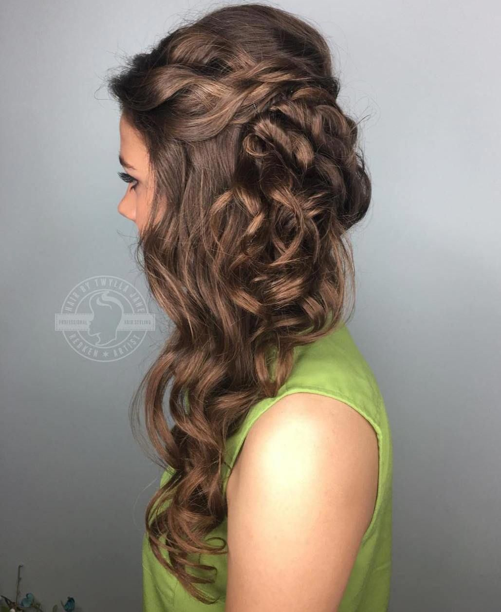 curly side downdo for long hair #promhairstylesforlonghair