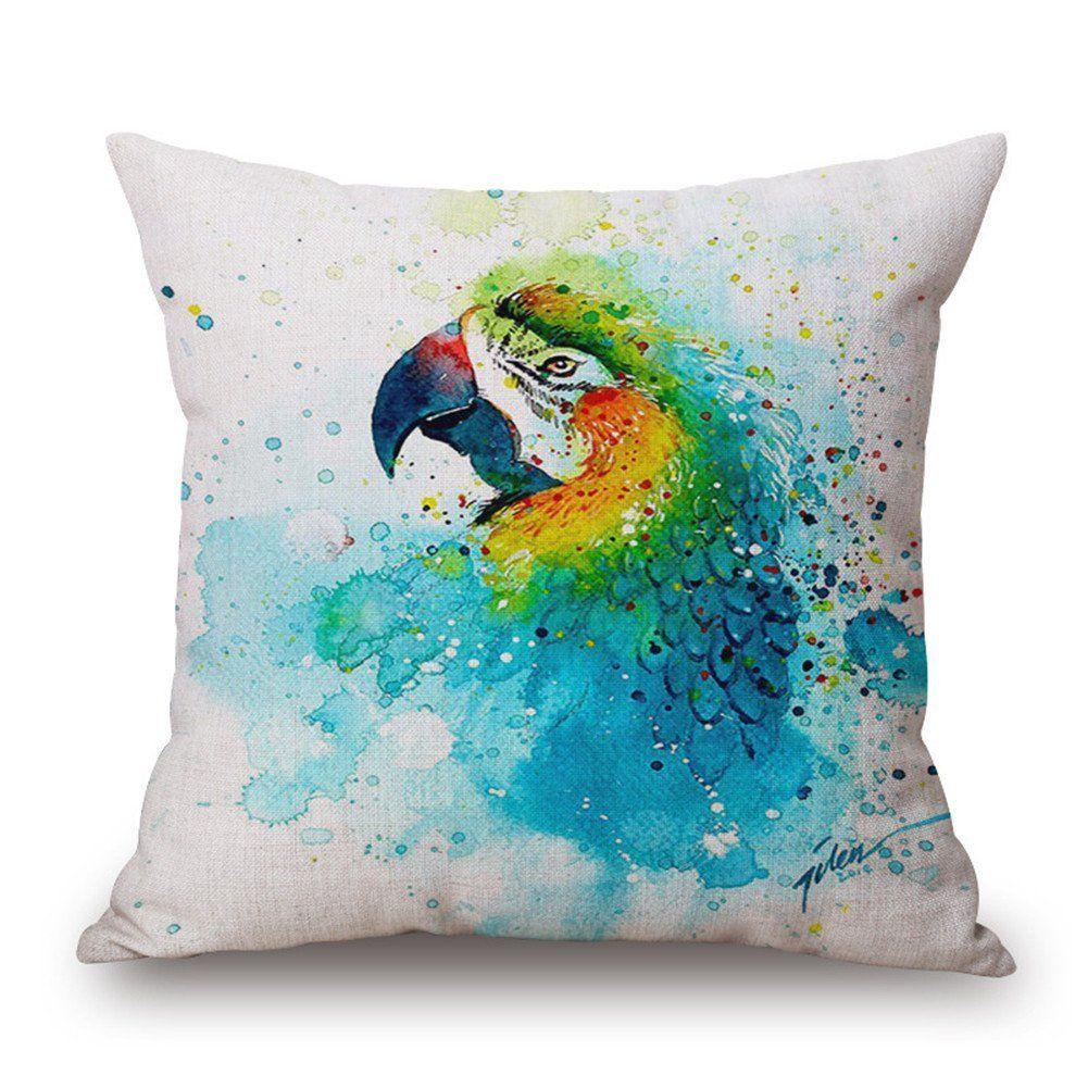 "Amazon.com: YAHUIPEIUS Colourful Painted Cotton Linen Square Watercolor Throw Pillow Case Decorative Cushion Cover Pillowcase Cushion Case 18""x18"": Home & Kitchen"
