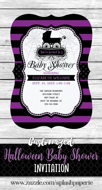 Purple Gothic Baby Shower Invitation Zazzle Com