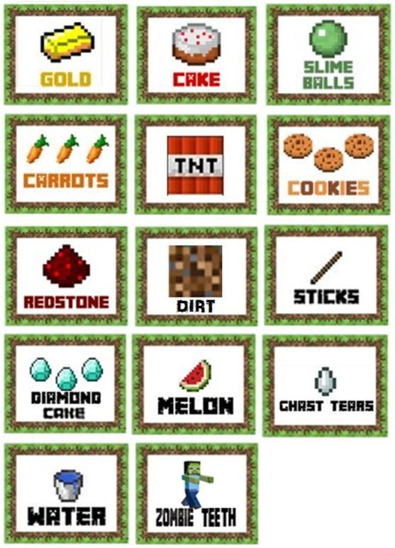 Priceless image for minecraft food labels printable