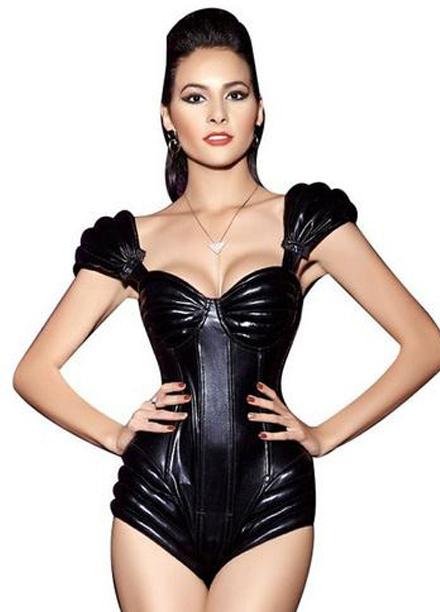 Unique Faux Leather Underwire Cups Cap Sleeves Bodysuit ...