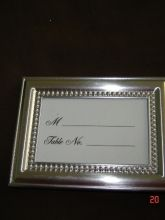 silver place card frames