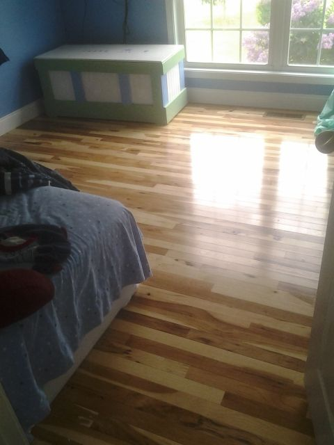 2 1 4 Micro V Character Grade Hickory Hardwood Floor With Semi Gloss Finish Hardwood Floors Hardwood Wood Floors Wide Plank