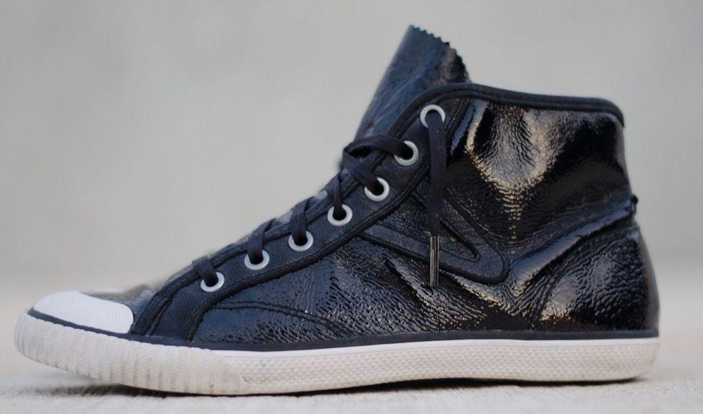 TRETORN Women's Sneaker Hi High Top Patent Leather Black Pebbled SZ 7 Fashion