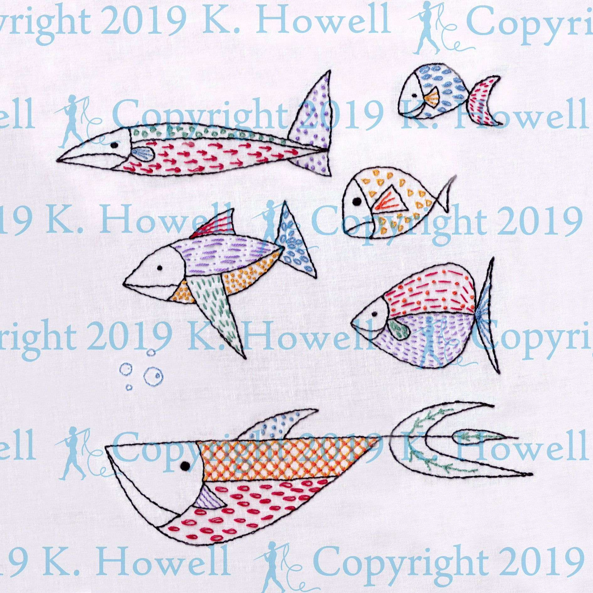 Rainbow Fish Hand Embroidery Pattern Fish Sampler