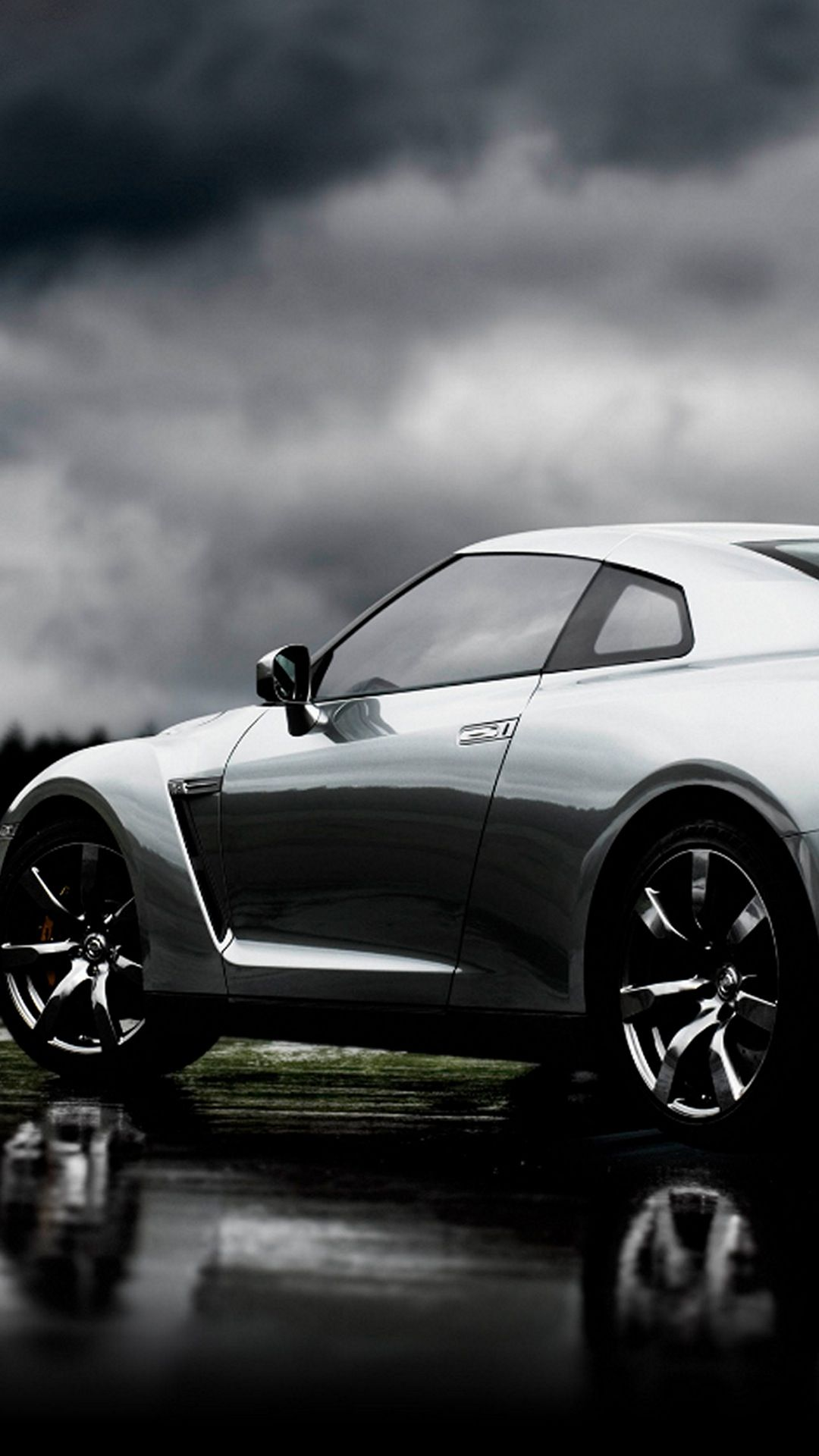 Cars Nissan GTR Silver Left Android Wallpaper
