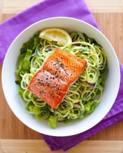 Photo of Baked Salmon with Lemon Dill Zucchini Noodles