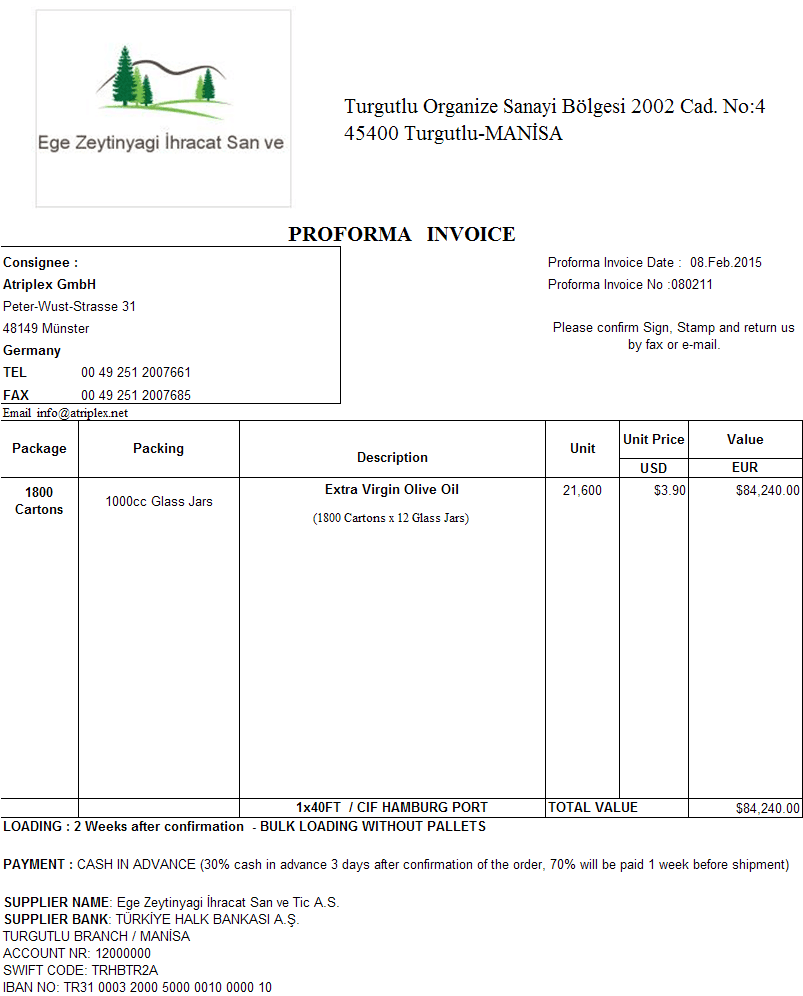 Proforma Invoice Sample  Customs    Invoice Sample