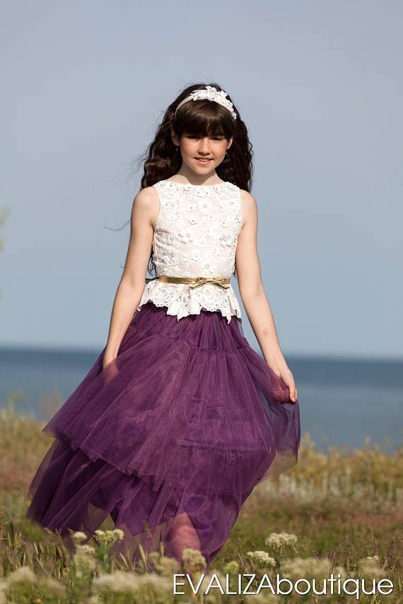 Ghanés púrpura flor púrpura Vestido de niña de las flores-Dama de ...