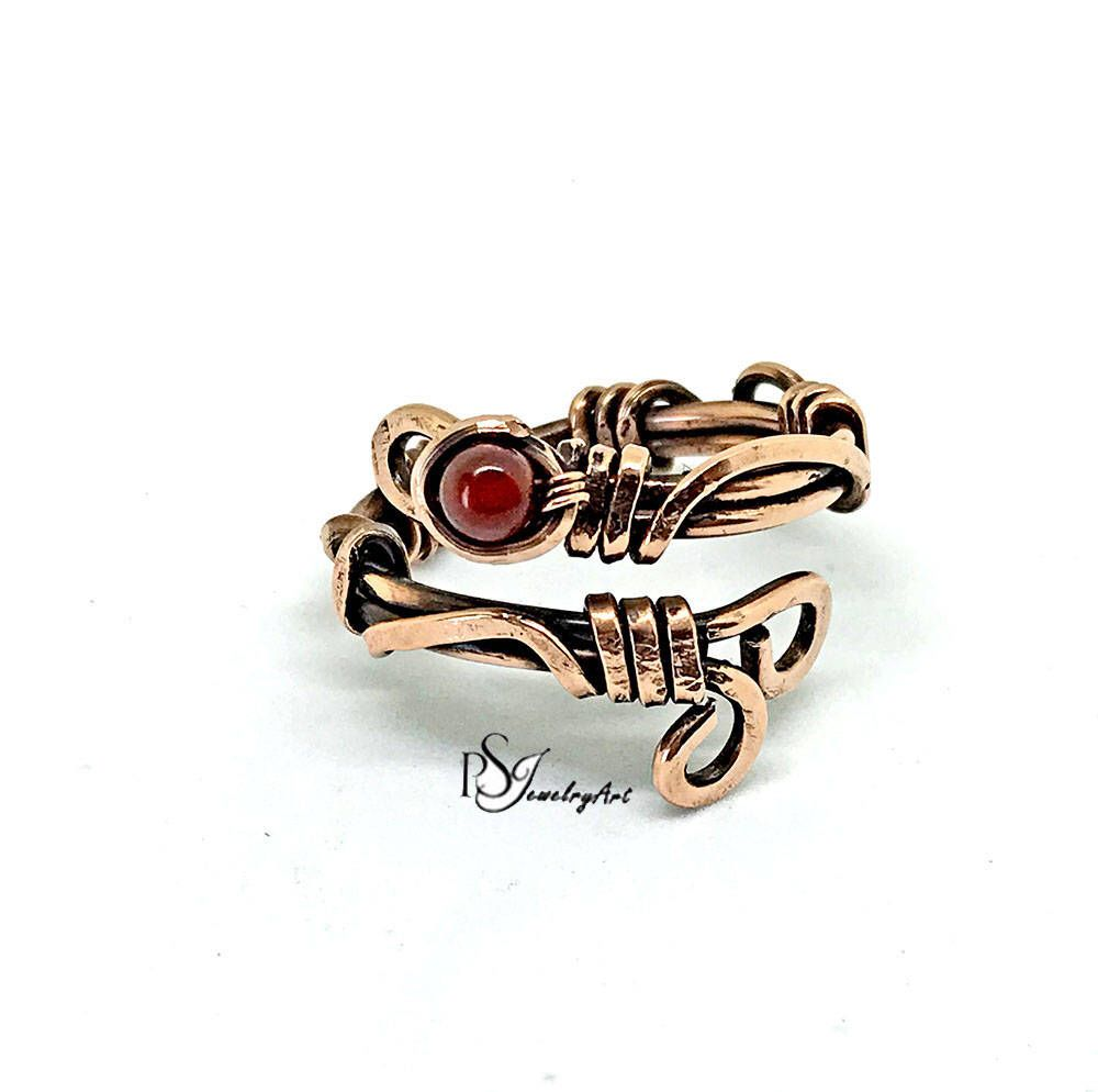 Copper wire rings, carnelian bead , wave ring, birthday gift, copper ...