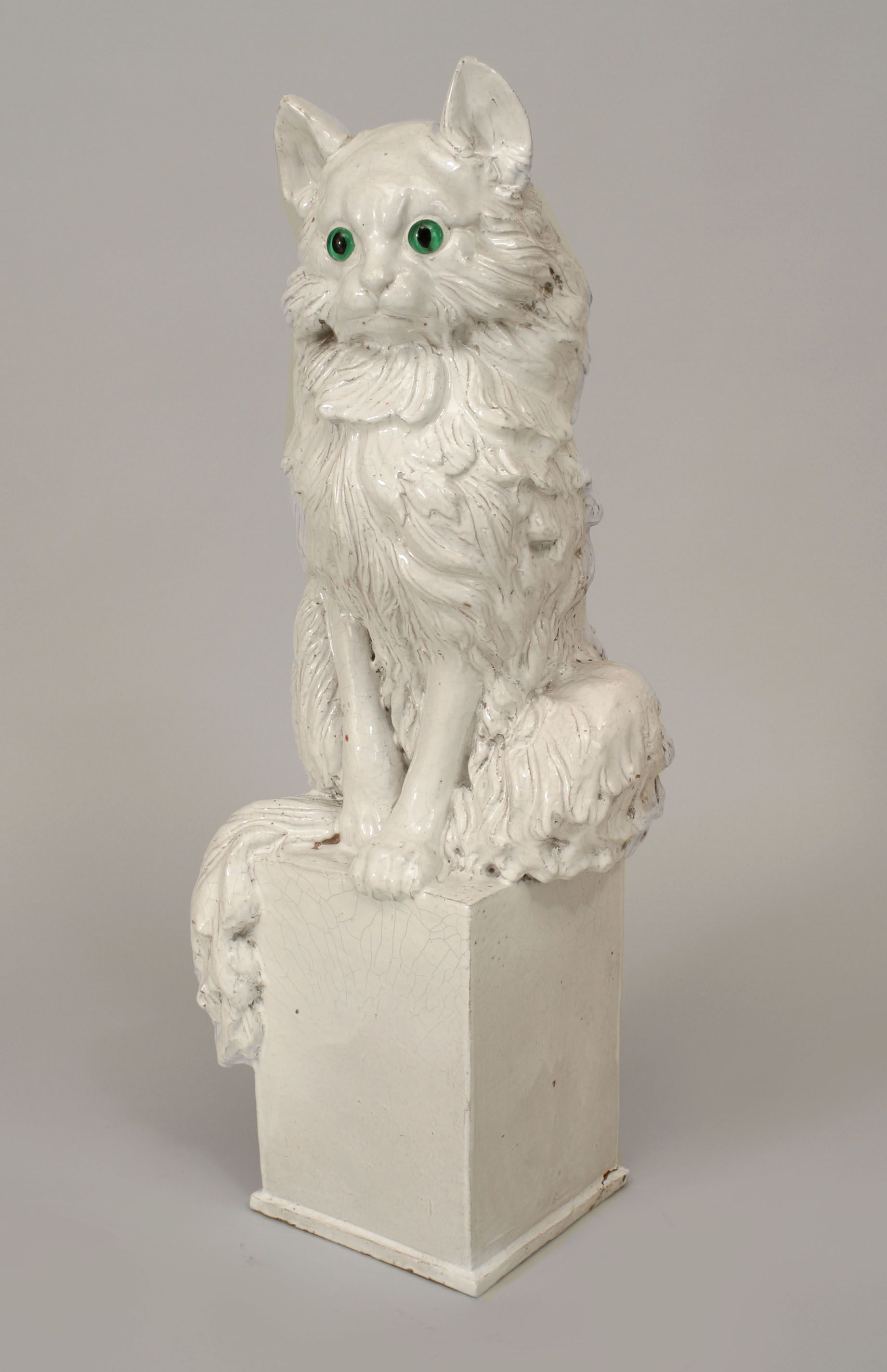 Italian s white ceramic figure of a life size seated cat with
