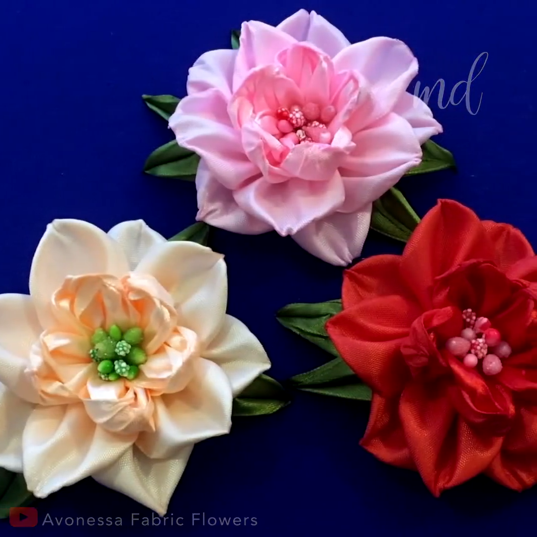 DIY RIBBON FLOWER #fleursentissu