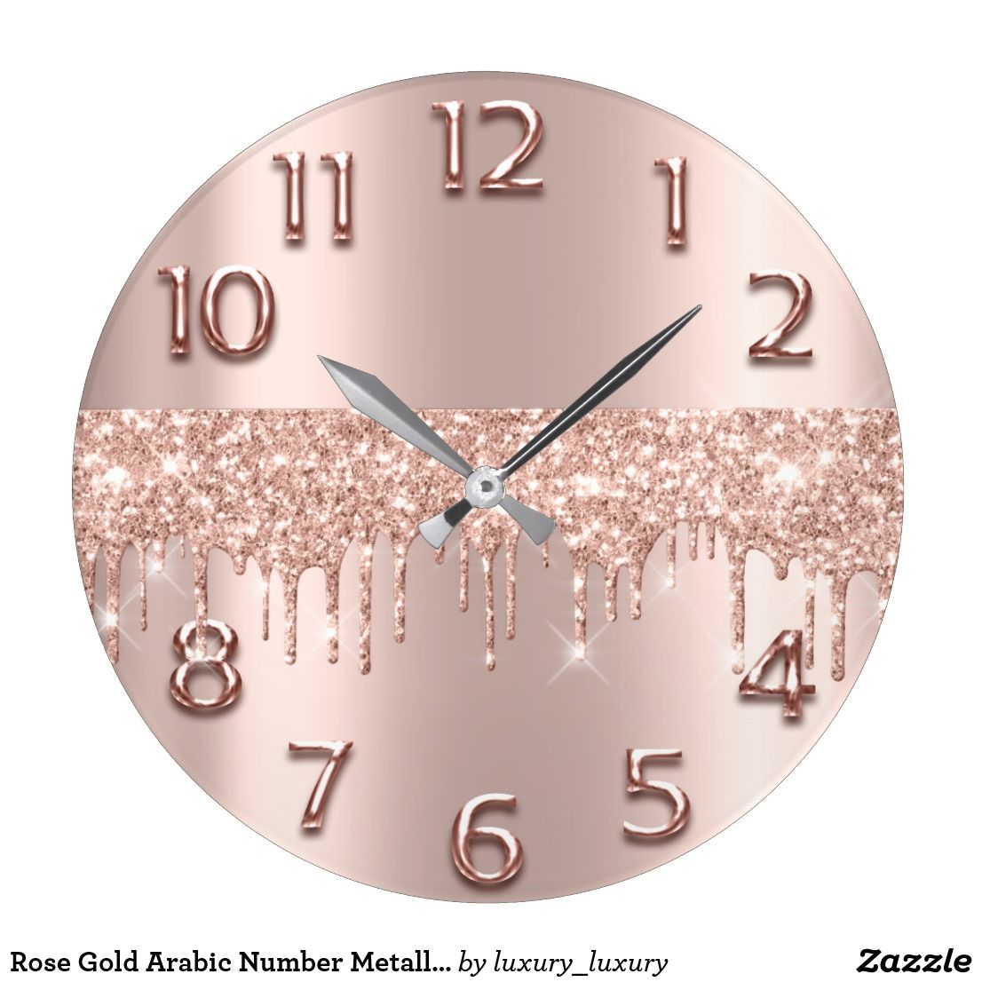Rose Gold Arabic Number Metallic Blush Glitter Large Clock   Zazzle com is part of Rose gold bedroom decor - Shop Rose Gold Arabic Number Metallic Blush Glitter Large Clock created by luxury luxury  Personalize it with photos & text or purchase as is!