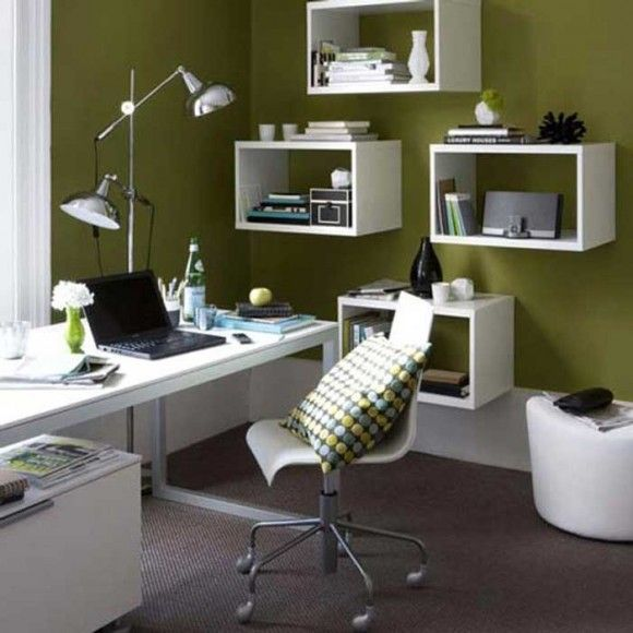 color wall with white shelves creative small office interior design