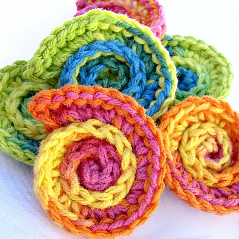 Easy Quick Crochet Flowers Pattern | Pan scrubbie crochet pattern ...