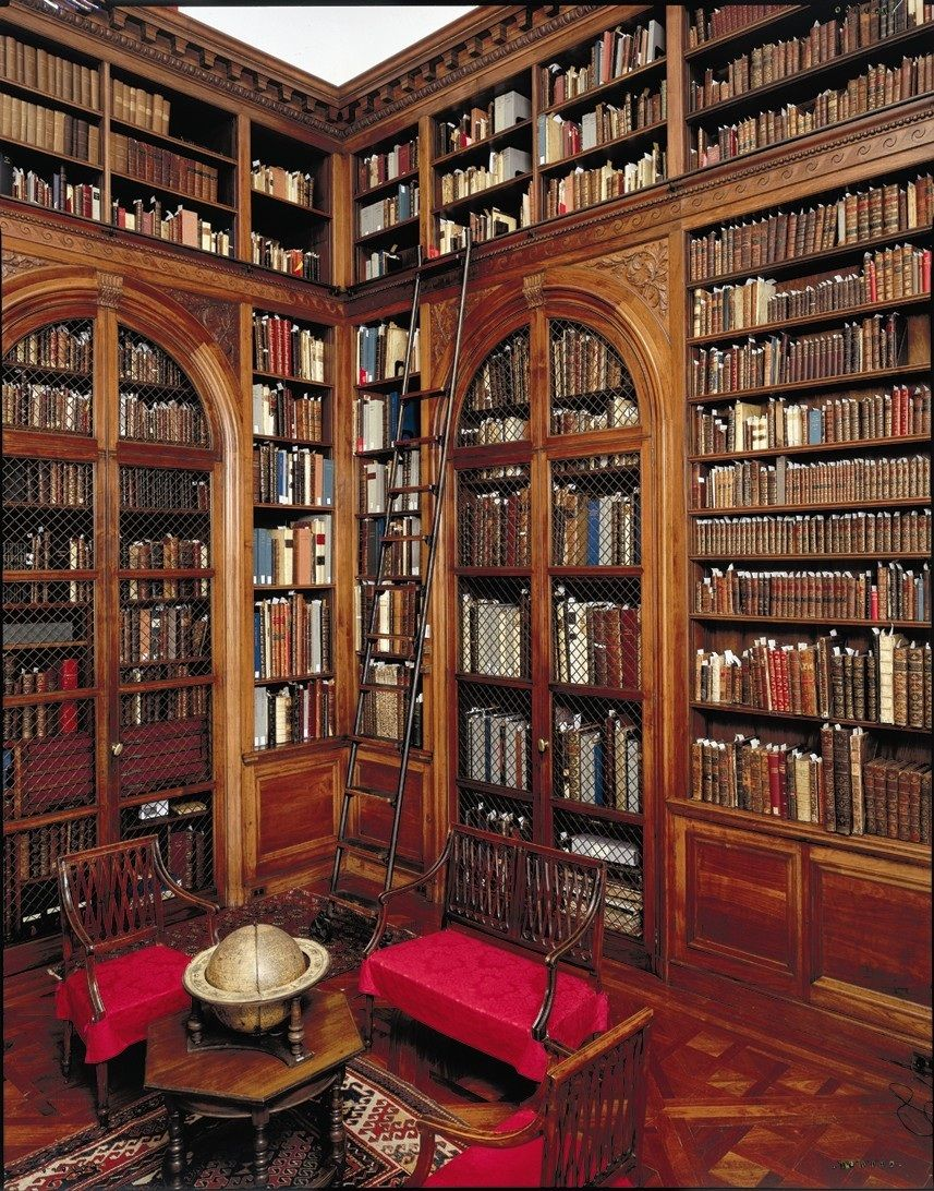 Interior Design Home Library: Furniture Extraordinary Library Carved Vintage Wood