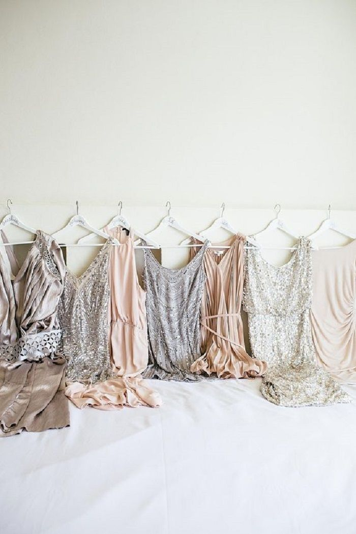 Mixed sequined neutrals bridesmaid dresses #wedding #bridesmaid #bridesmaids #bridesmaiddresses