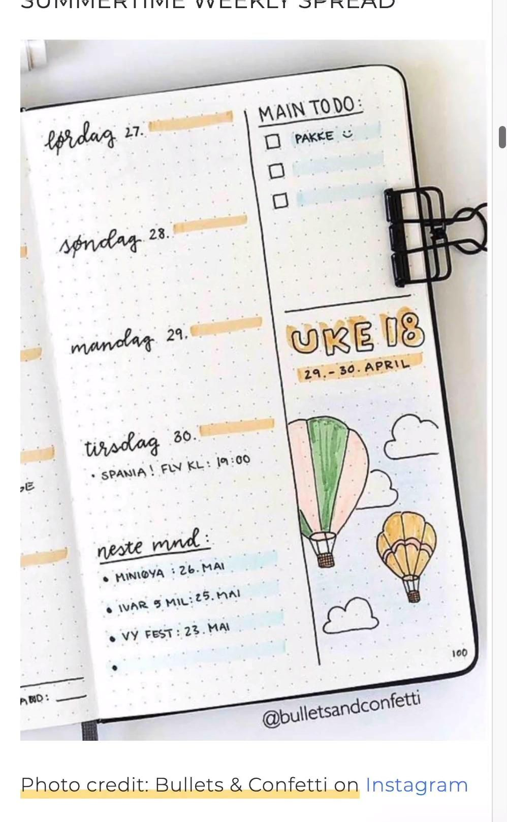Best Hot Air Balloon Bullet Journal Spreads