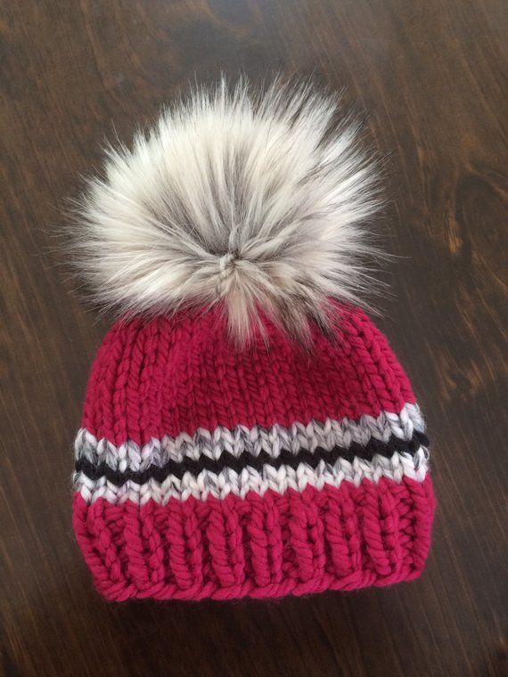 Photo of 6-12 Month Baby Girl Knit Hat // Hats for Girls // Pink Faux Fur Pompom Hat // Chunky Knit Beanie // Baby Shower Gift // Photography Prop