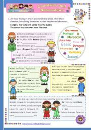 English worksheet: Countries and nationalities (1st in a series of ...