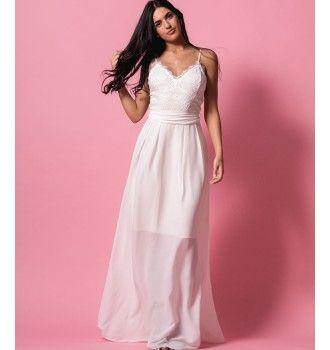 03143436a1a Ρομαντικό Μάξι Φόρεμα από Δαντέλα και Ζορζέτα - Λευκό | SS 2018 ...