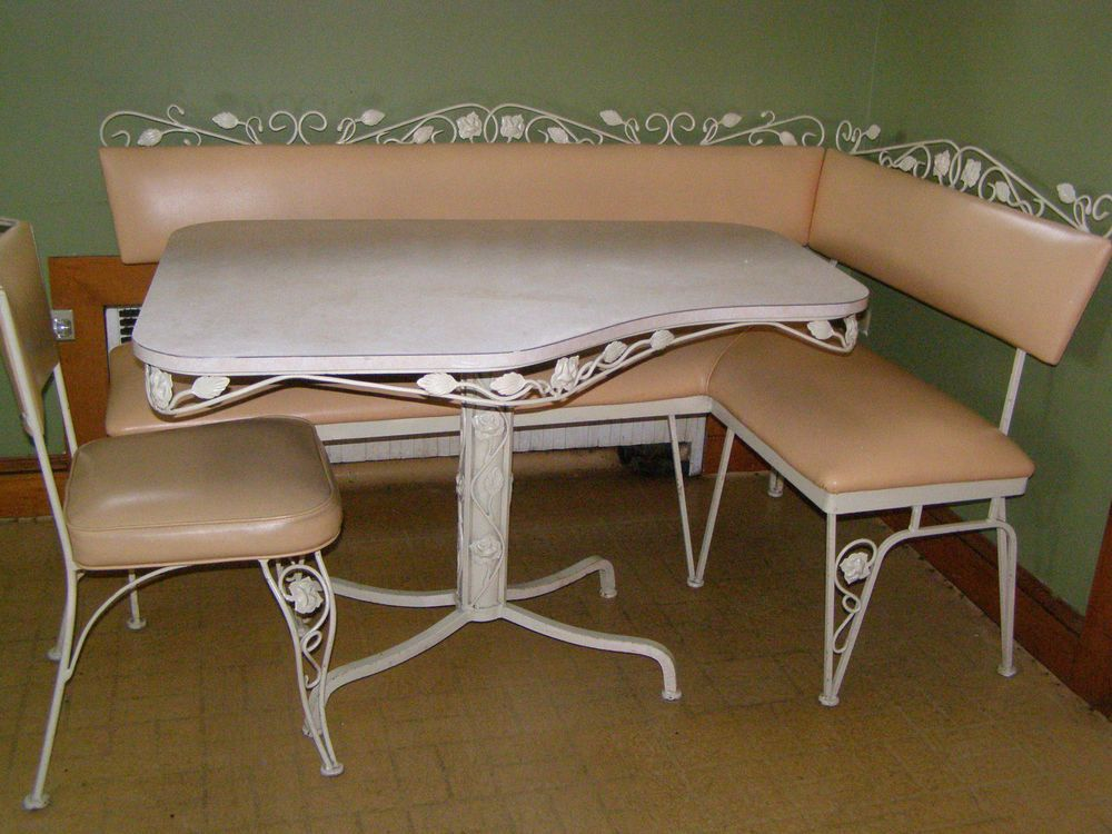 Cabinet furniture. VINTAGE Wrought Iron   Vinyl Table Bench Chair Set Rose Leaves