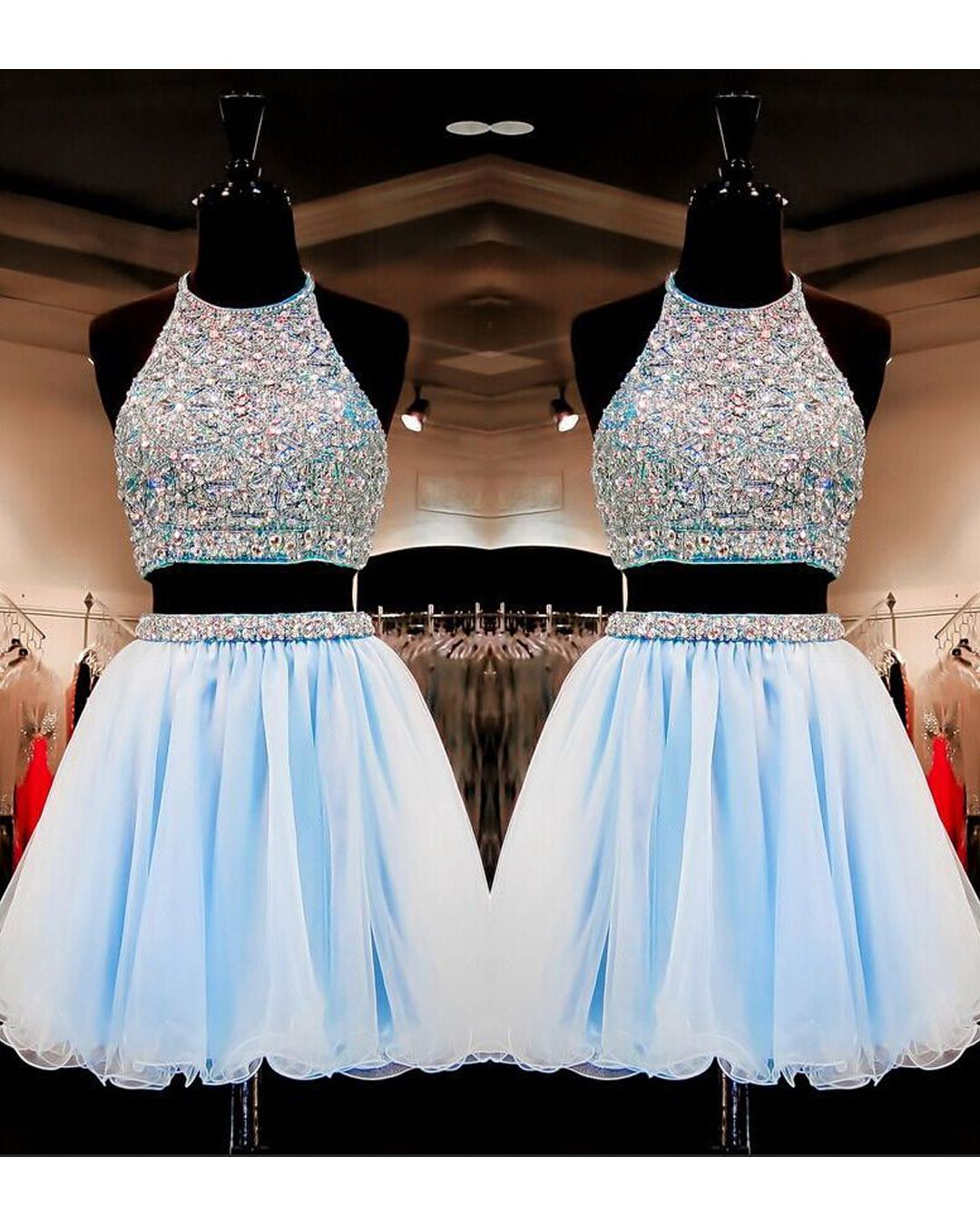 9b12cc3edfe Sweet 16 Gowns Light Sky Blue Tulle Short Homecoming Dresses Dress 2 Pieces  With Beading