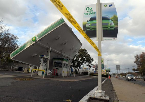 Newsday Photo credit: Newsday / Thomas A. Ferrara | The canopy roof of a BP gas station along RT 112 in Medford collapsed during superstorm Sandy. (Oct. 30, 2012) ^MH