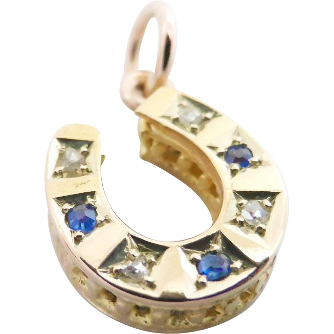 Victorian 15k 15ct Gold Petite Sapphire And Diamond Lucky Horseshoe Pendant Or Charm Horseshoe Pendant Pandora Bracelet Charms Vintage Charm Bracelet
