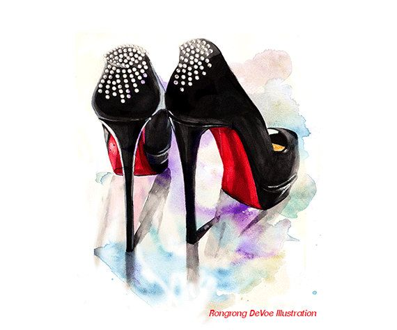 Christian Louboutin Fashion Print Shoes Fashion Illustration Poster Wall Art Black And Red Heels Fashion Illustration Print Fashion Prints Fashion Sketches