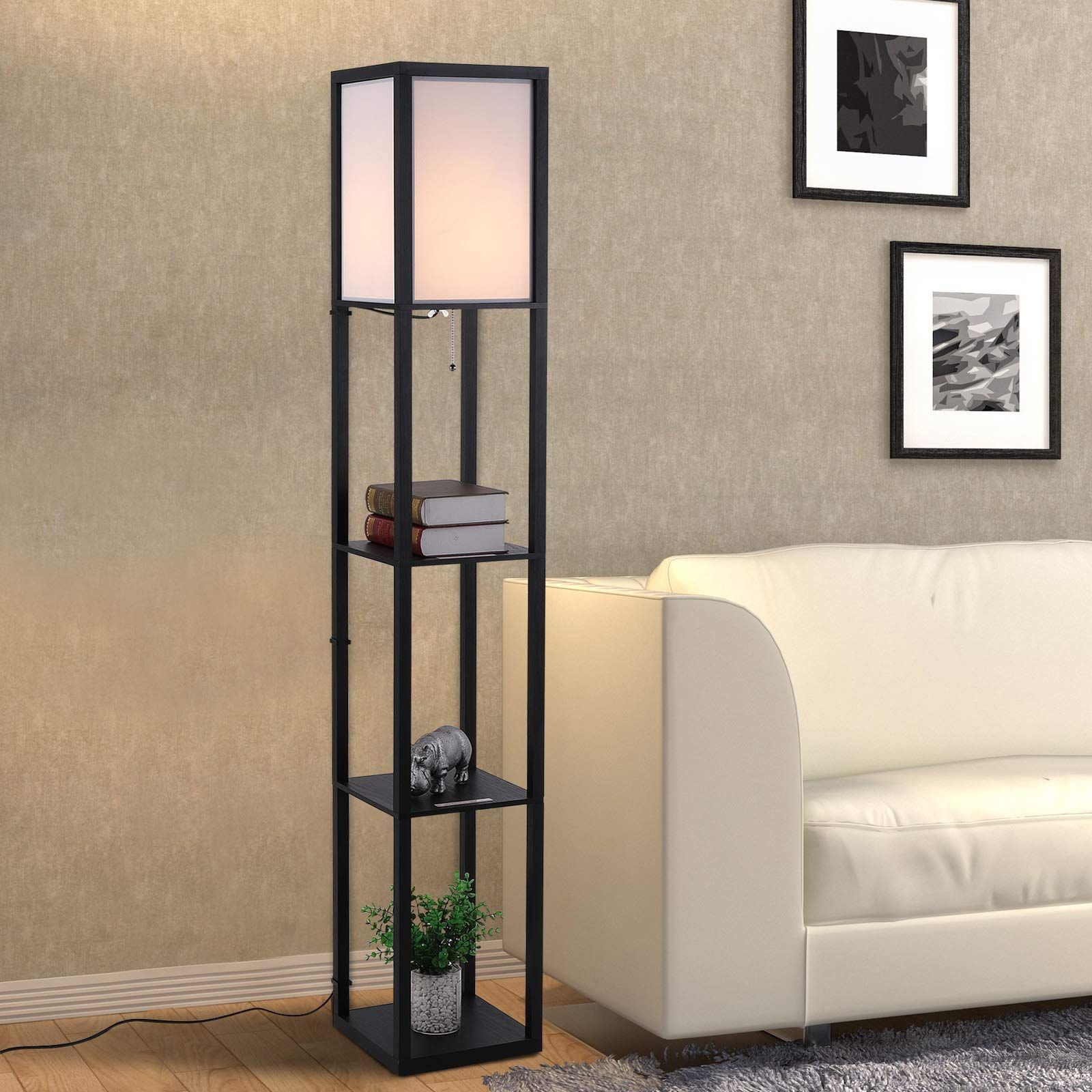 Homcom Modern Shelf Floor Lamp Soft Light 4 Tier Open Shelves Living Room Storage Display Amazon Co Uk K In 2020 Floor Lamp With Shelves Cheap Floor Lamps Floor Lamp