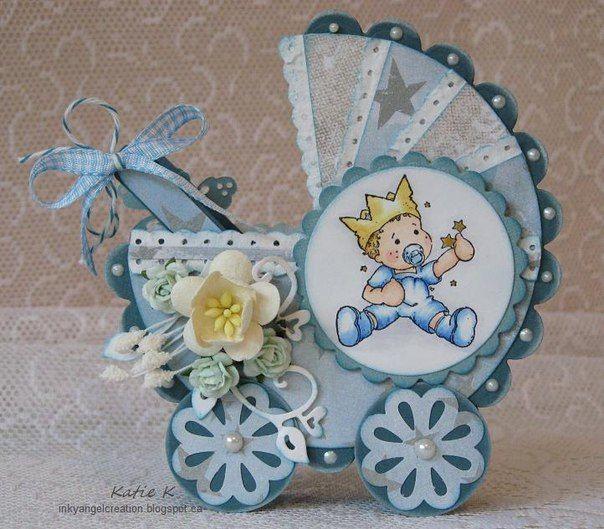 Открытка на рождение с коляской